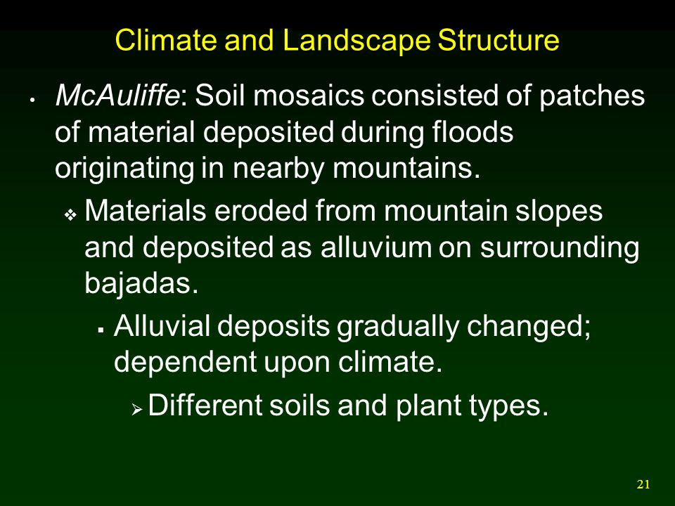 Climate and Landscape Structure