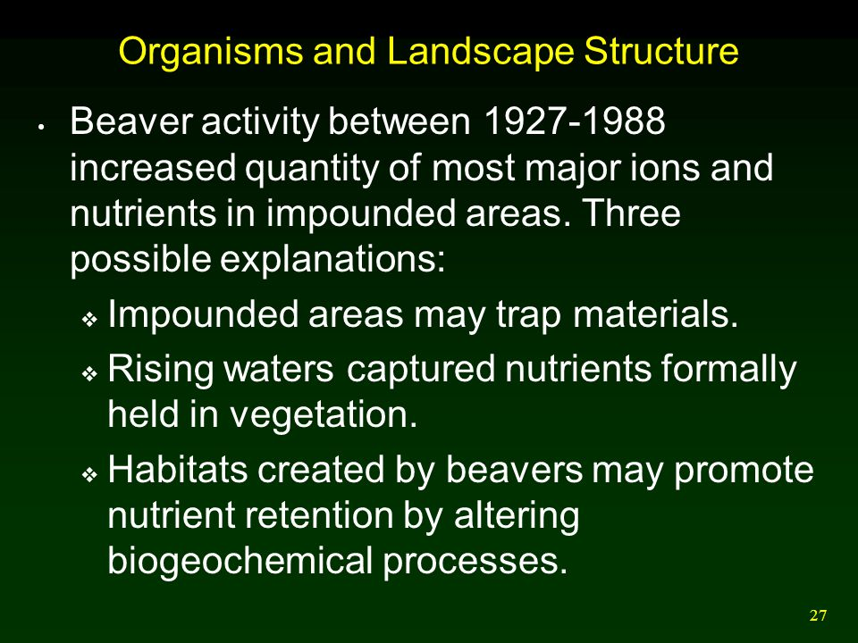 Organisms and Landscape Structure