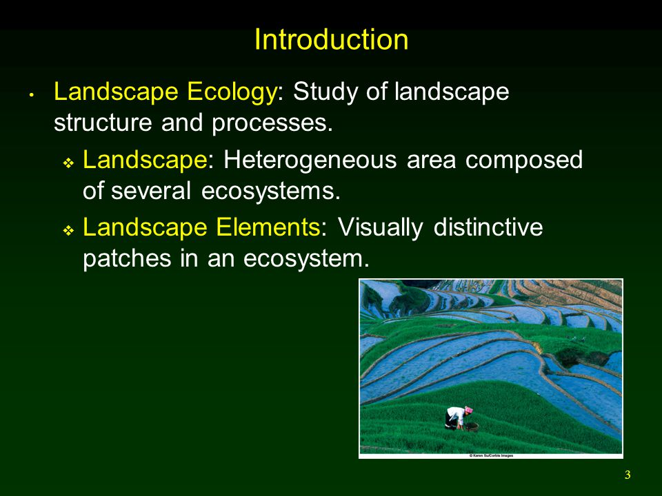 Introduction Landscape Ecology: Study of landscape structure and processes. Landscape: Heterogeneous area composed of several ecosystems.