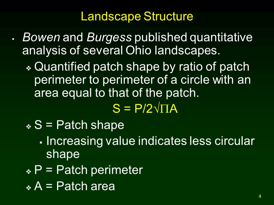 Landscape Structure Bowen and Burgess published quantitative analysis of several Ohio landscapes.