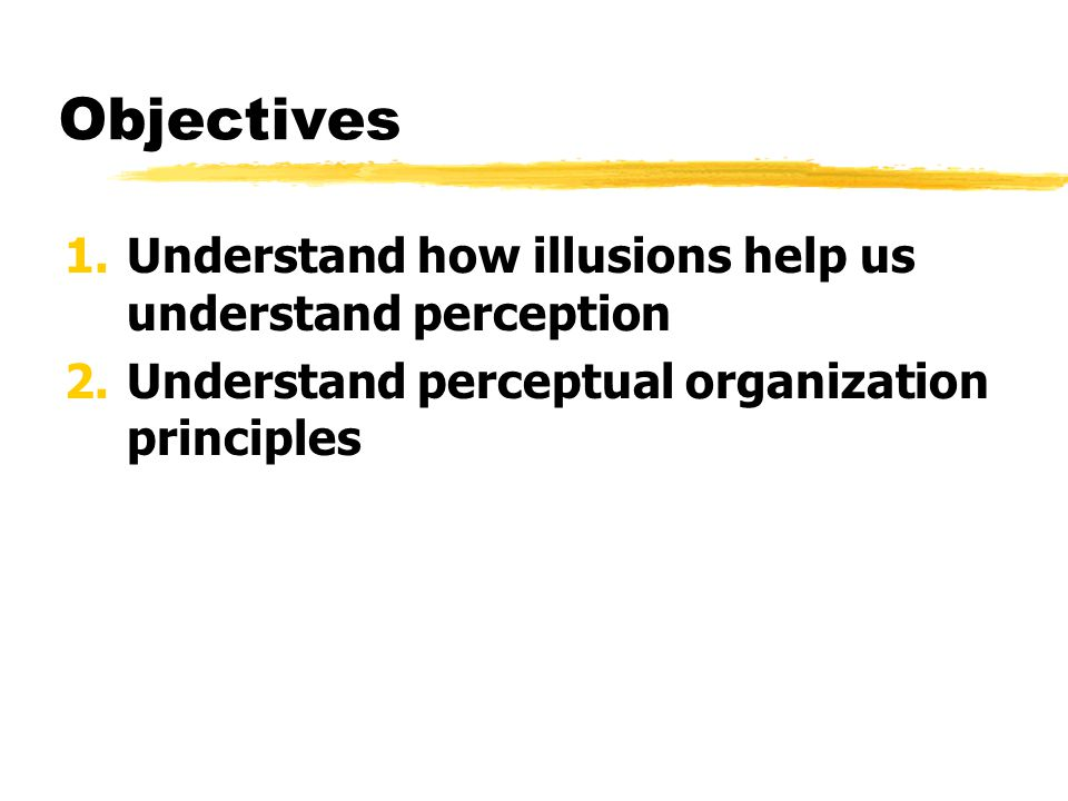 Objectives Understand how illusions help us understand perception