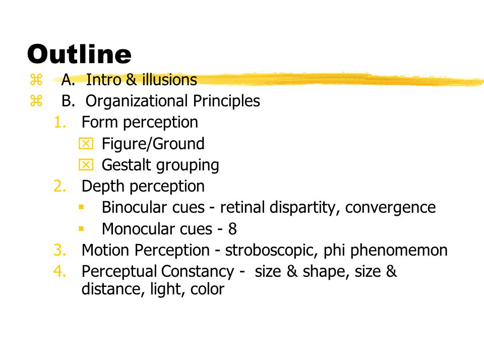 Outline A. Intro & illusions B. Organizational Principles