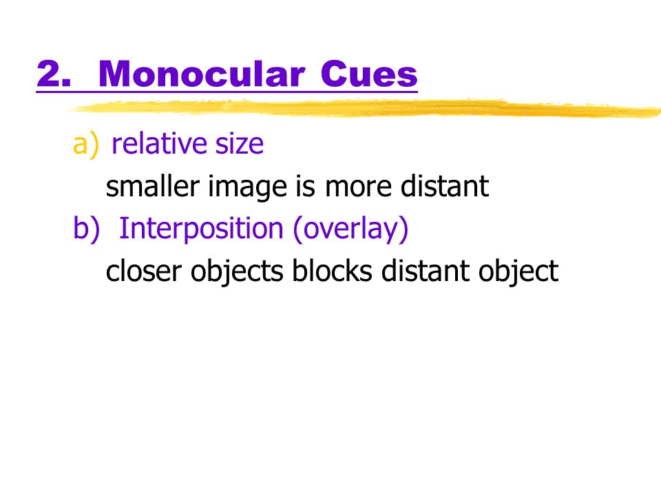 2. Monocular Cues relative size smaller image is more distant