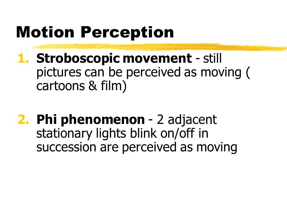 Motion Perception Stroboscopic movement - still pictures can be perceived as moving ( cartoons & film)
