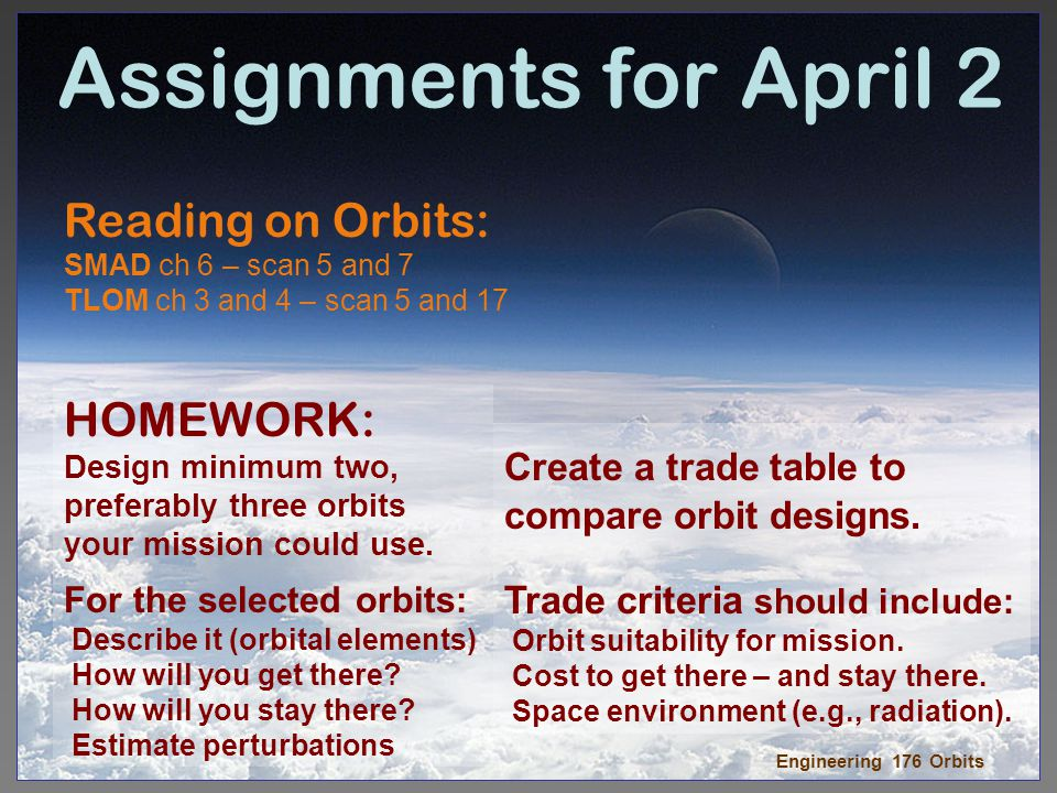 Assignments for April 2 Reading on Orbits: HOMEWORK:
