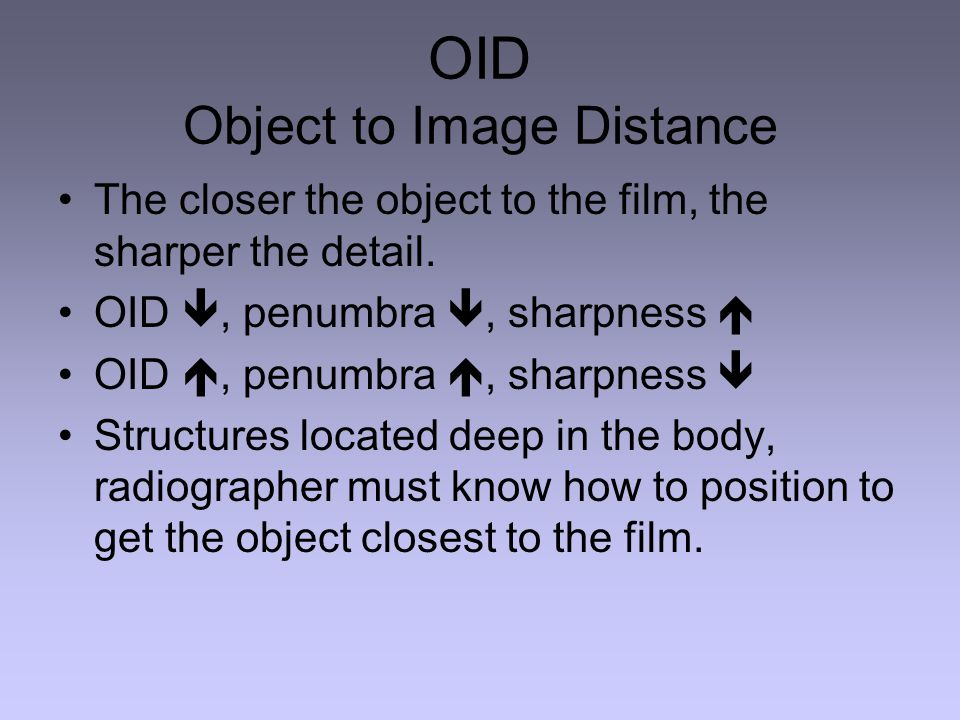 OID Object to Image Distance