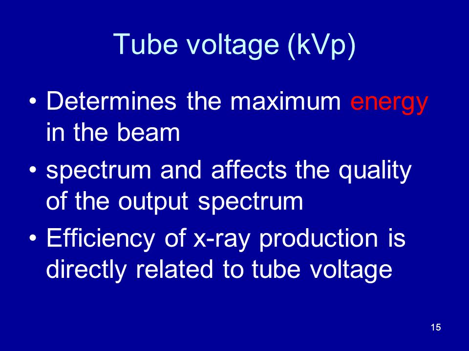 Tube voltage (kVp) Determines the maximum energy in the beam