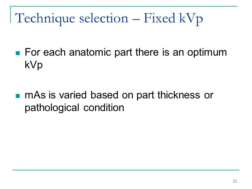 Technique selection – Fixed kVp