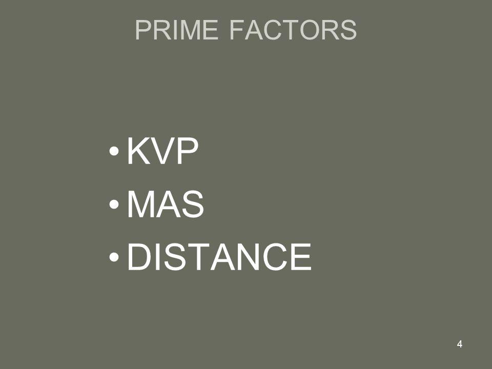 PRIME FACTORS KVP MAS DISTANCE