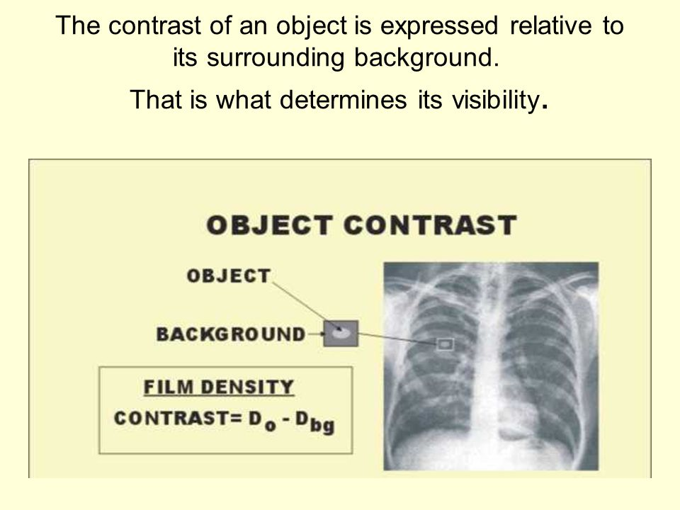 The contrast of an object is expressed relative to its surrounding background. That is what determines its visibility.