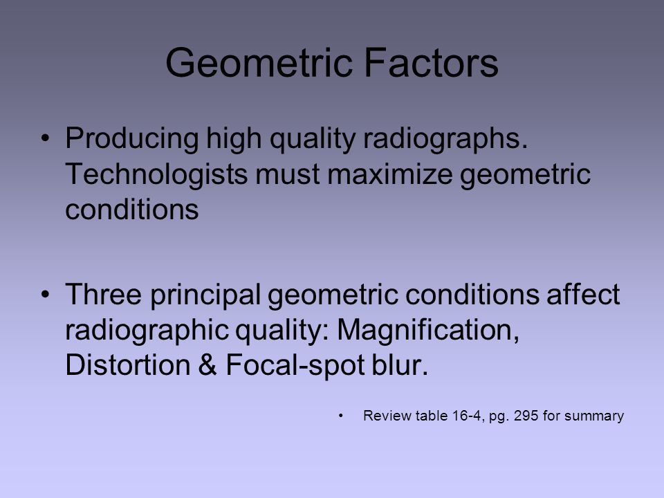 Geometric Factors Producing high quality radiographs. Technologists must maximize geometric conditions.