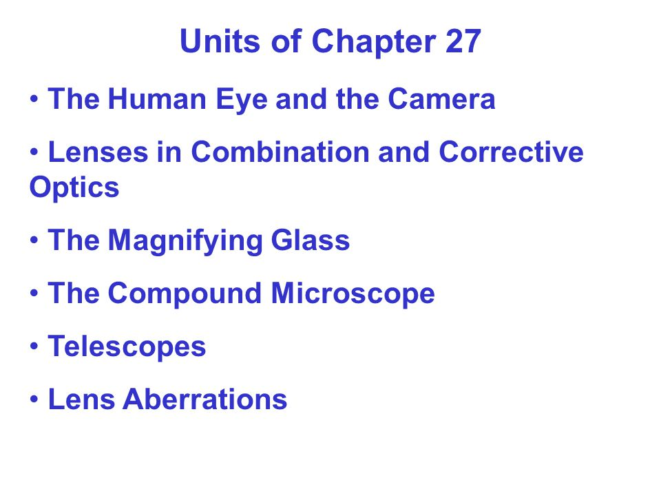 Units of Chapter 27 The Human Eye and the Camera