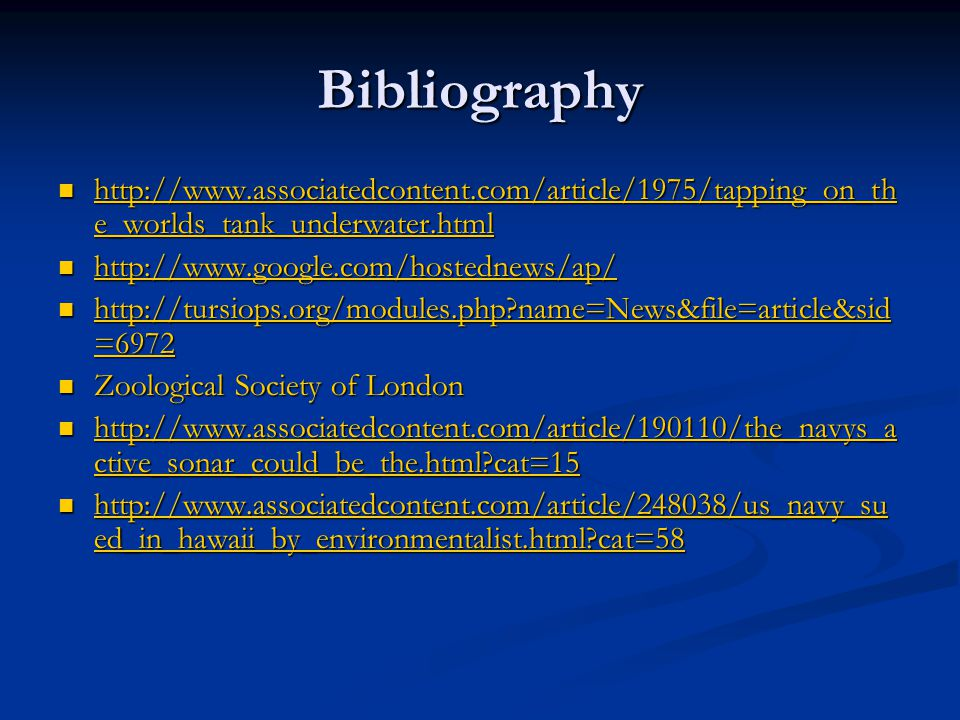 Bibliography http://www.associatedcontent.com/article/1975/tapping_on_the_worlds_tank_underwater.html.