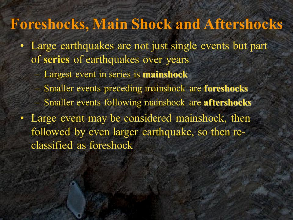 Foreshocks, Main Shock and Aftershocks