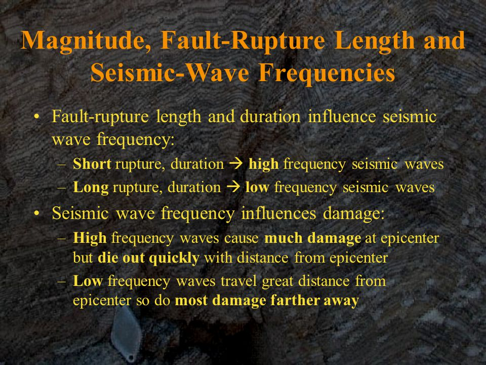 Magnitude, Fault-Rupture Length and Seismic-Wave Frequencies