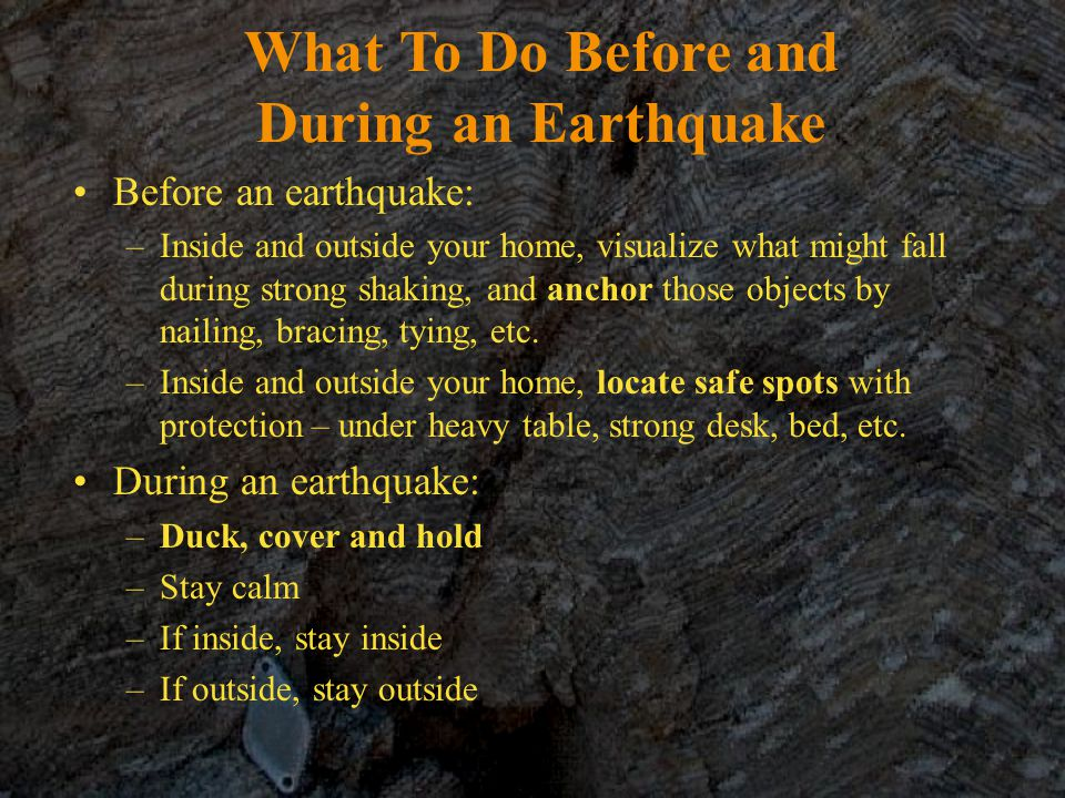 What To Do Before and During an Earthquake