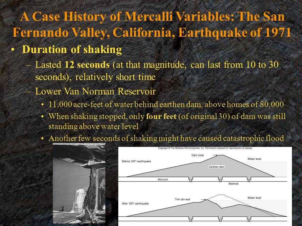 A Case History of Mercalli Variables: The San Fernando Valley, California, Earthquake of 1971
