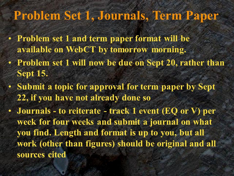 Problem Set 1, Journals, Term Paper