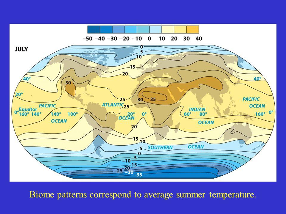 Biome patterns correspond to average summer temperature.