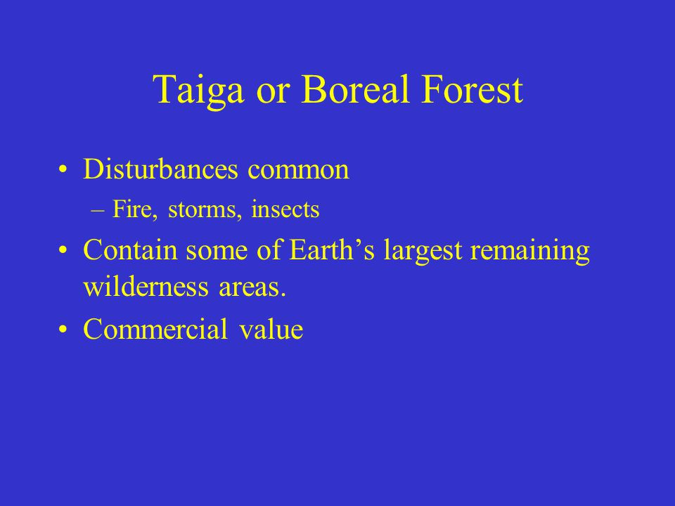 Taiga or Boreal Forest Disturbances common