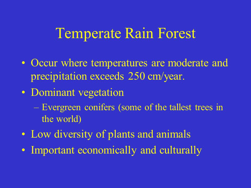 Temperate Rain Forest Occur where temperatures are moderate and precipitation exceeds 250 cm/year. Dominant vegetation.