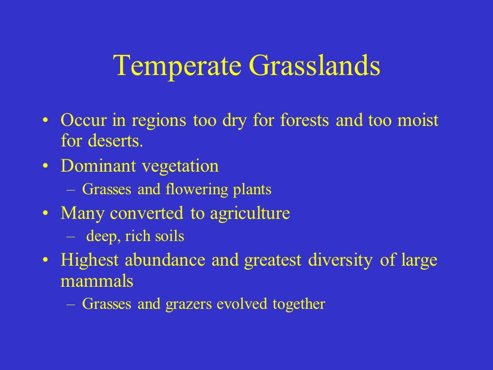 Temperate Grasslands Occur in regions too dry for forests and too moist for deserts. Dominant vegetation.