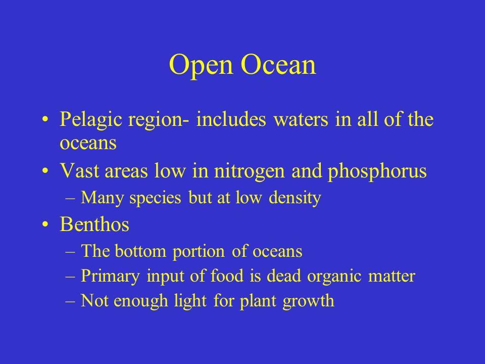 Open Ocean Pelagic region- includes waters in all of the oceans