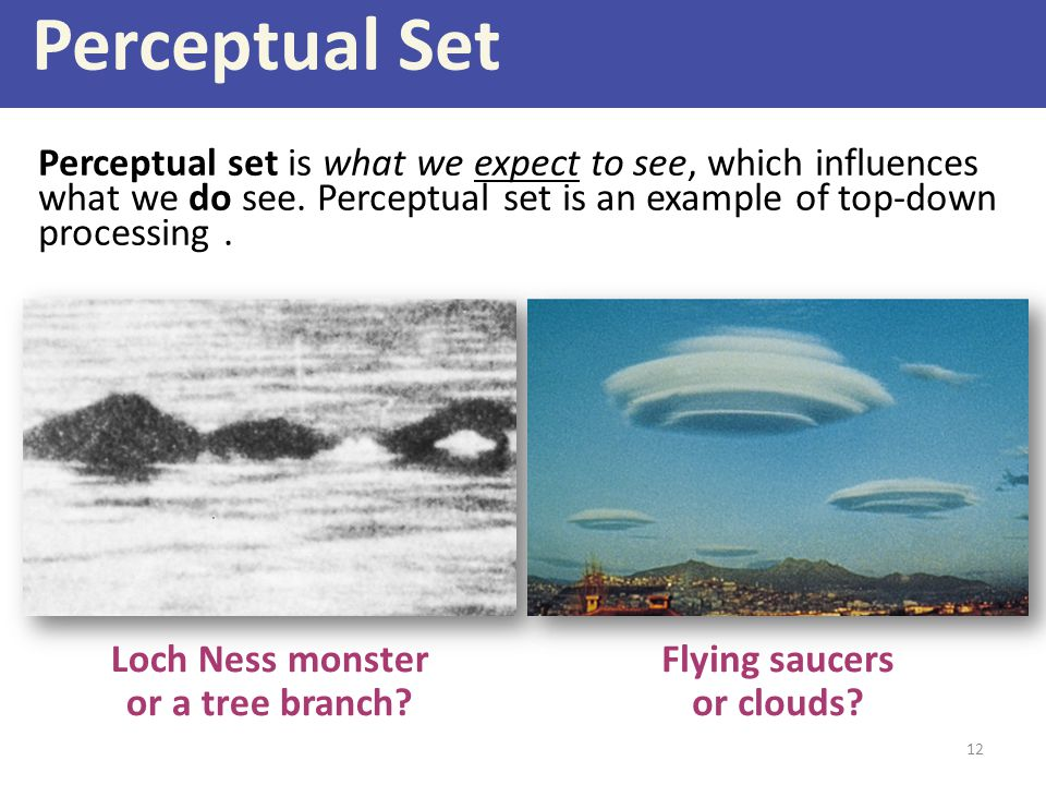 Perceptual Set Perceptual set is what we expect to see, which influences what we do see. Perceptual set is an example of top-down processing .
