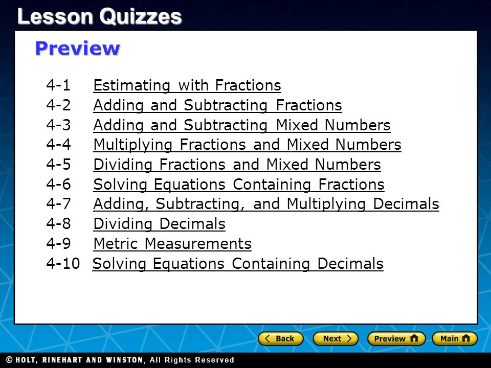 Lesson Quizzes Preview 4-1 Estimating with Fractions