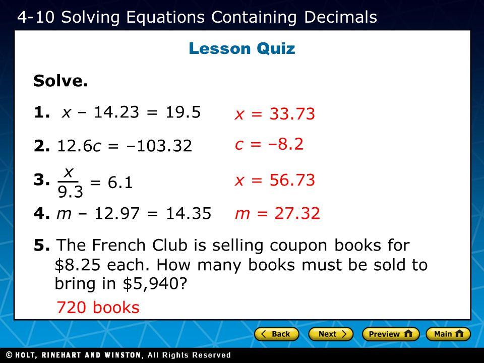 4-10 Solving Equations Containing Decimals