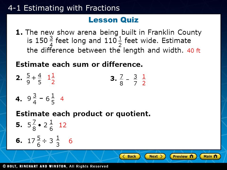 4-1 Estimating with Fractions