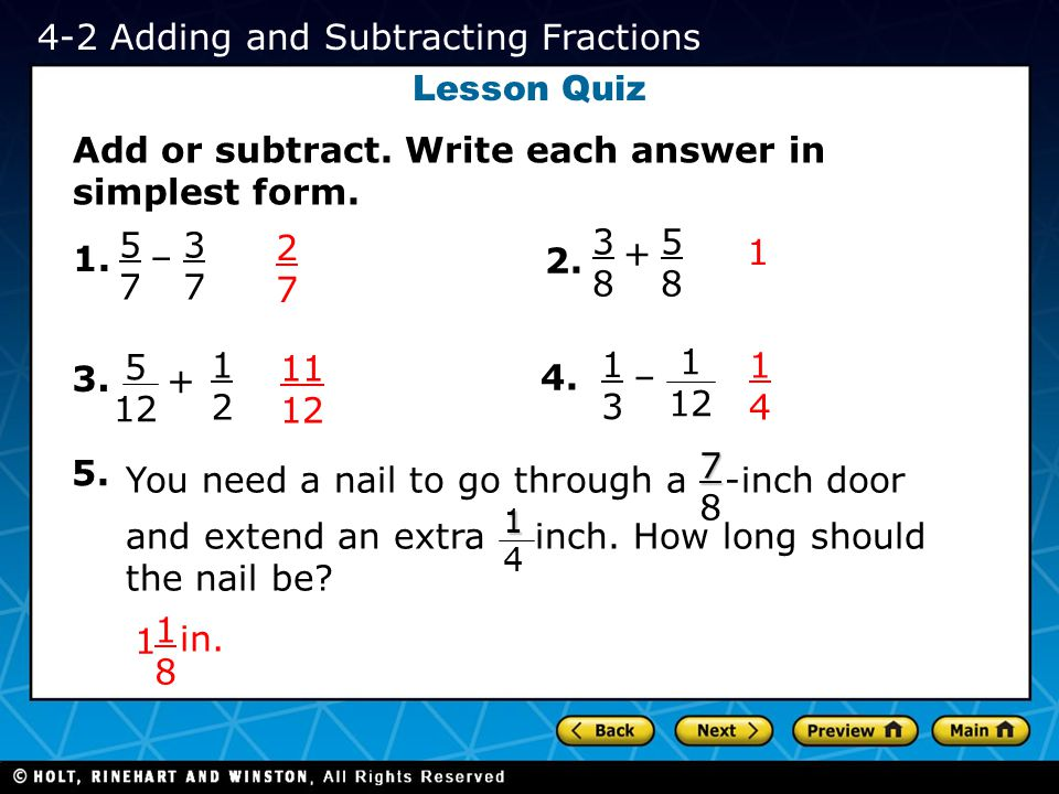 4-2 Adding and Subtracting Fractions