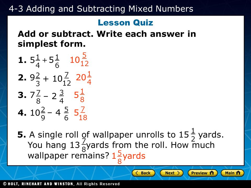 4-3 Adding and Subtracting Mixed Numbers Lesson Quiz