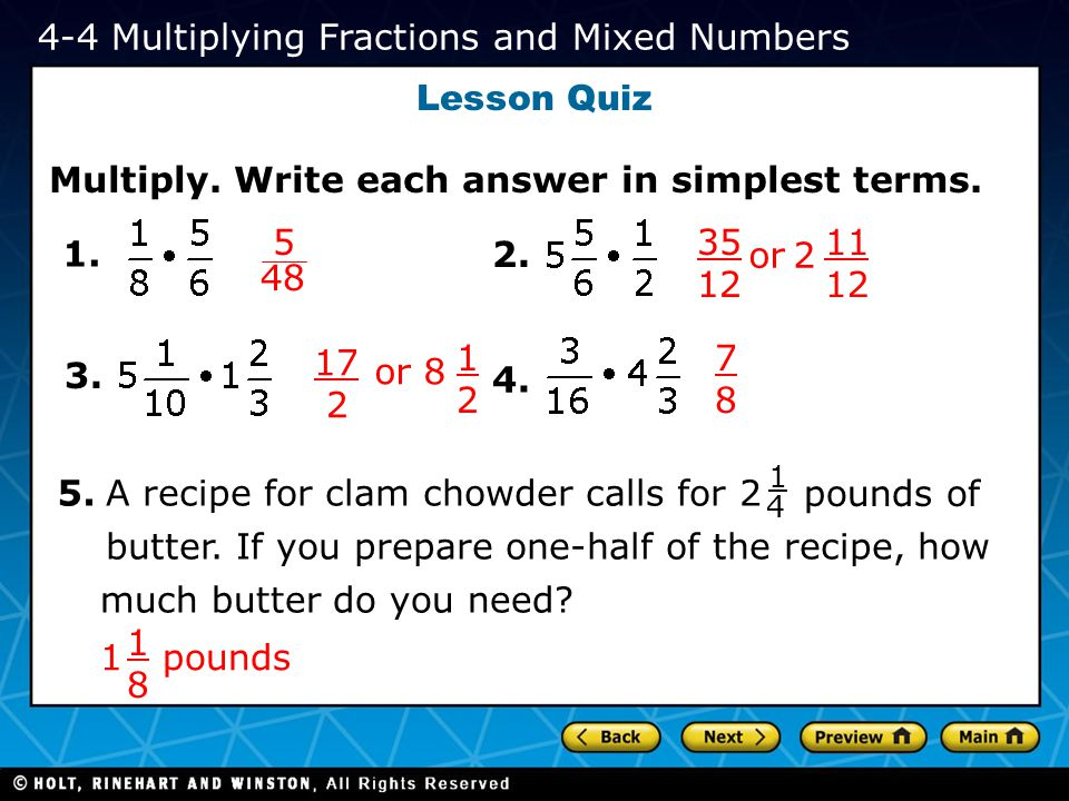 4-4 Multiplying Fractions and Mixed Numbers