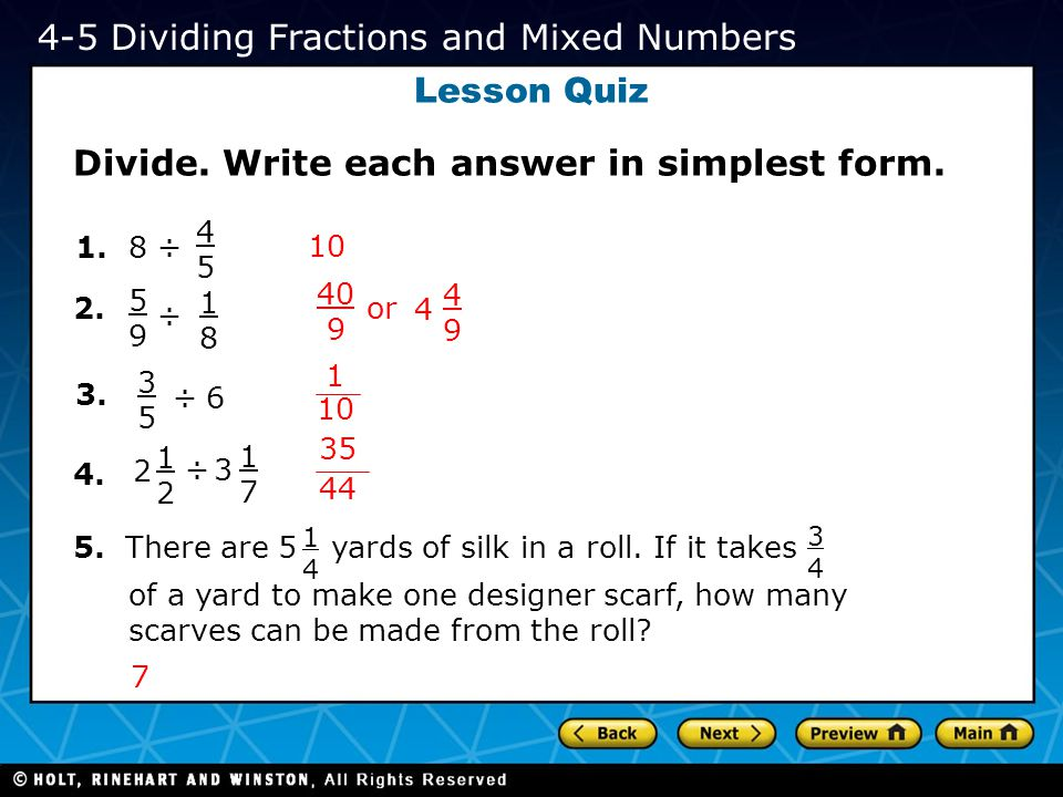 4-5 Dividing Fractions and Mixed Numbers