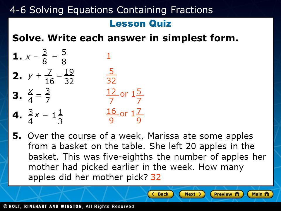4-6 Solving Equations Containing Fractions