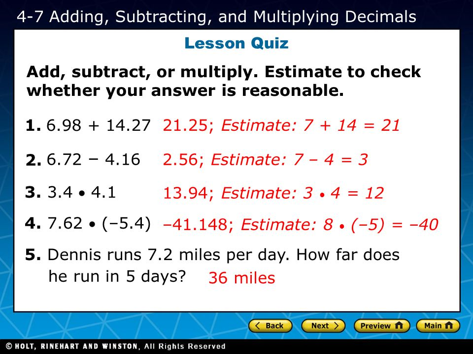 4-7 Adding, Subtracting, and Multiplying Decimals