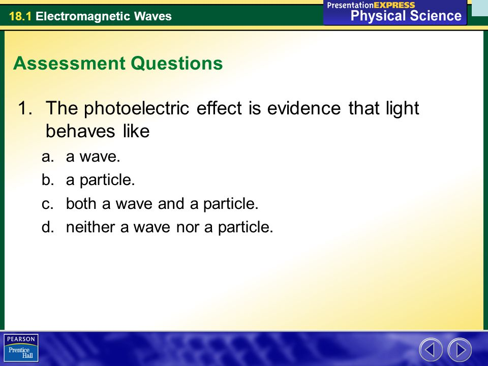 The photoelectric effect is evidence that light behaves like