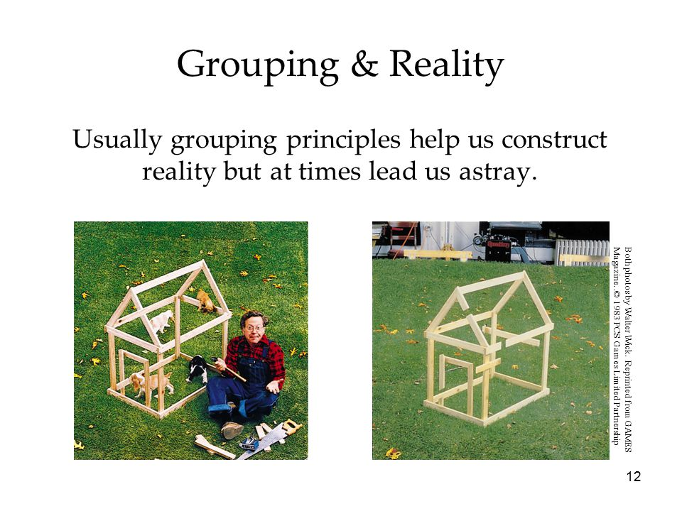 Grouping & Reality Usually grouping principles help us construct reality but at times lead us astray.