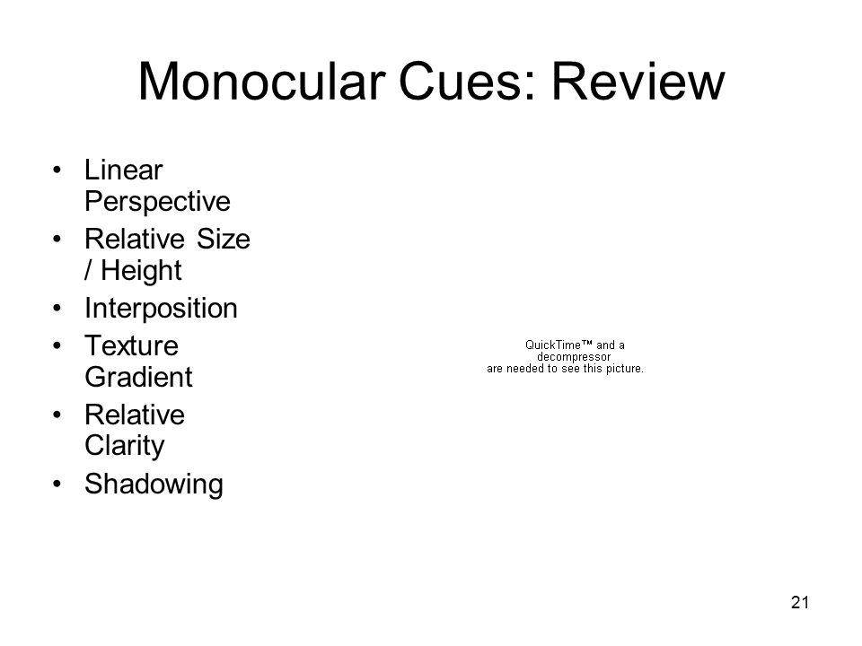 Monocular Cues: Review