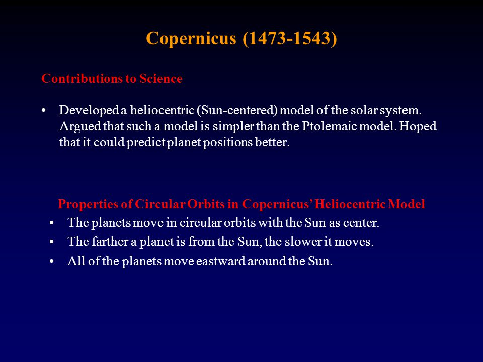 Properties of Circular Orbits in Copernicus' Heliocentric Model