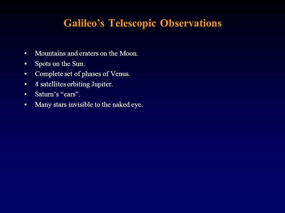 Galileo's Telescopic Observations