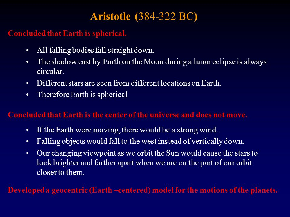 Aristotle (384-322 BC) Concluded that Earth is spherical.
