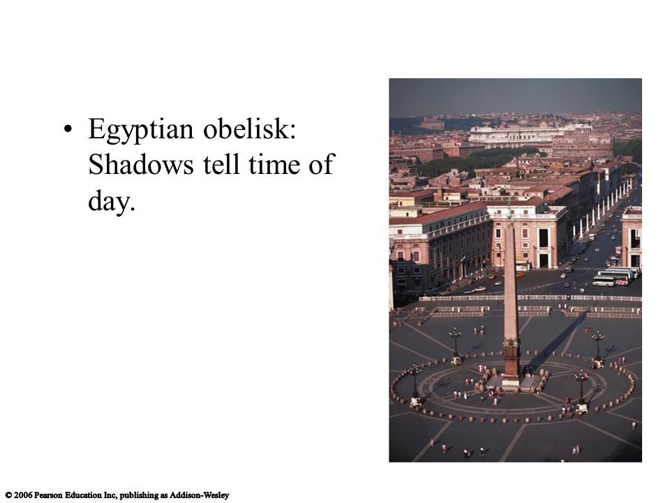 Egyptian obelisk: Shadows tell time of day.