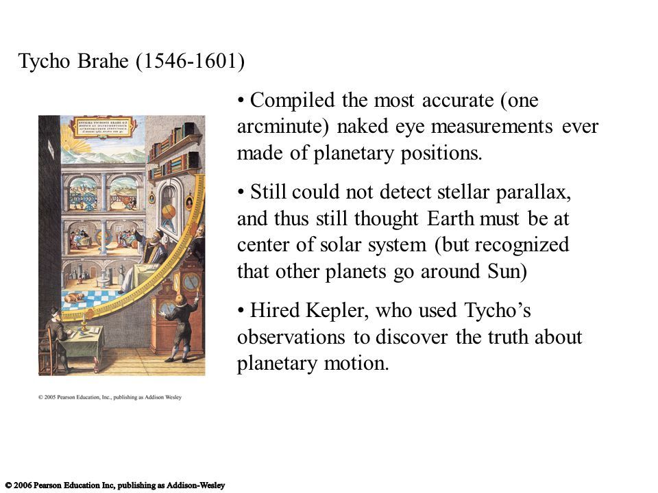 Tycho Brahe (1546-1601) Compiled the most accurate (one arcminute) naked eye measurements ever made of planetary positions.