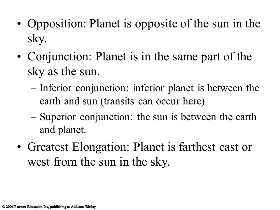 Opposition: Planet is opposite of the sun in the sky.