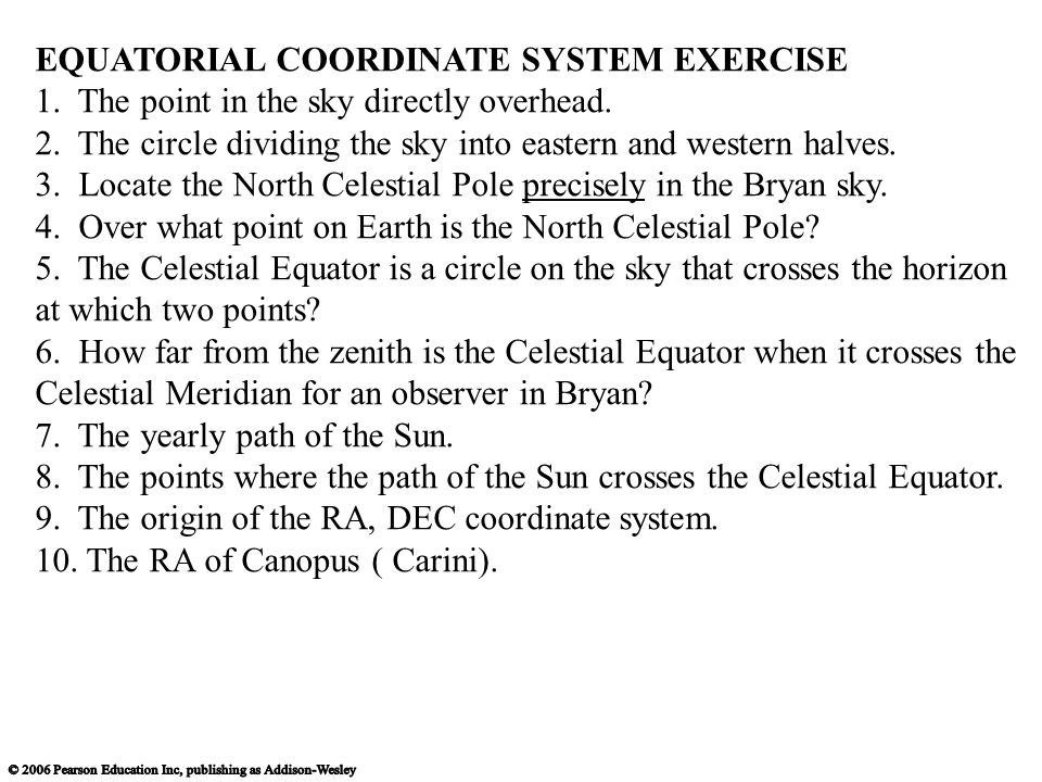 EQUATORIAL COORDINATE SYSTEM EXERCISE