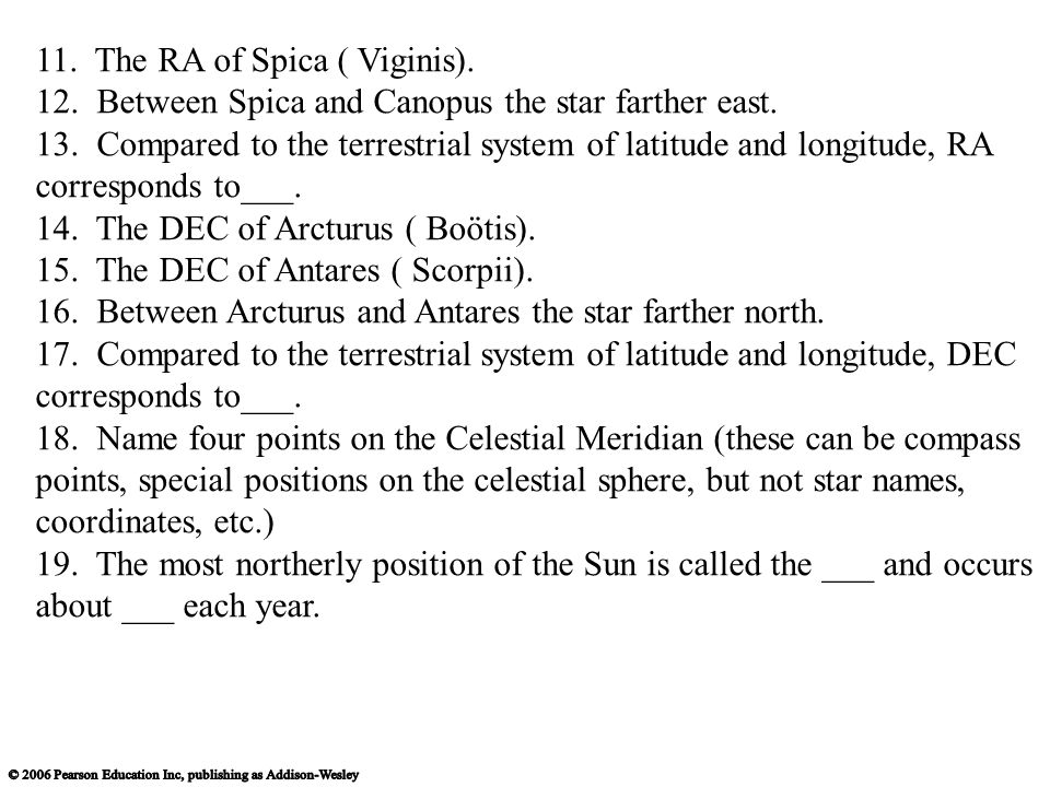 11. The RA of Spica ( Viginis).