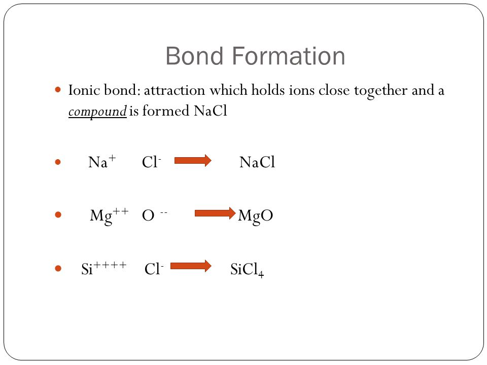 Bond Formation Mg++ O -- MgO Si++++ Cl- SiCl4