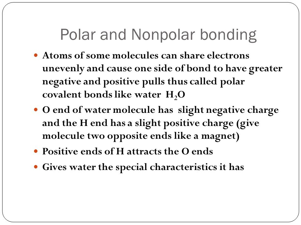 Polar and Nonpolar bonding
